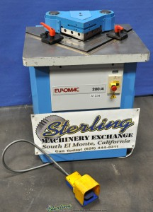 "3/16"" x 7-1/2"" Used Euromac Hydraulic Notcher, Mdl. 200/4, Twin Work Guides, Scrap Chute #A1234"