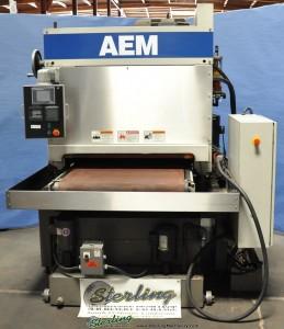 "37"" Used AEM Wet Type Belt Grinder, Mdl. 401-37-HDMW,  Paper Filter Coolant System, Air Knife Dryer, Automatic Conveyor Belt Tracking, Stainless Steel Construction, PLC Controller (2000) #A1235"