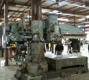 """8' x 19"""" Used Carlton Radial Arm Drill, Mdl. 4A, Box Table, Power Clamping, Threading, Power Elevation, One Shot Lube System #A1255"""