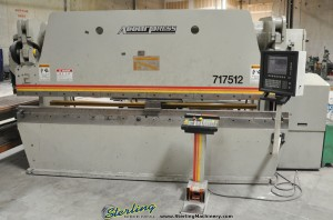 175 Ton x 12' Used Accurpress CNC Hydraulic Press Brake, Mdl. 717512, ETS 2000 2 Axis CNC Back Gauge, Remote Dual Palm Control Stand (2003) #A1291