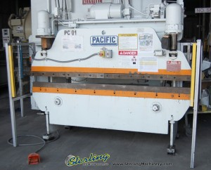 40 Ton x 8' Used Pacific Hydraulic Press Brake, Mdl. 40- 8, Front Operated Manual Back Gauge , Light Curtains, Tonnage Valve #9514