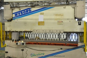 """100 Ton x 12' Used Wysong Hydraulic Press Brake, Mdl. THS100-144, STI Light Curtain, Dual Palm Controls, One Shot Lube, Drilled & Machined For Flanges, 126"""" Between Housings (1995) #A1045"""
