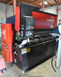 88 Ton x 8' Used Amada CNC Hydraulic Press Brake, Mdl. FBD- 8025E, Amada NC9- EX II CNC Back Gauge (3 Axis), Dual Foot Pedal Control (1997) #9559