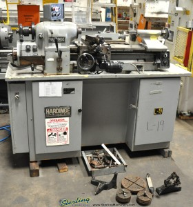 """11"""" x 18"""" Used Hardinge Tool Room Lathe, Mdl. HLVH, Inch Metric Threading, Taper Attachmnent, Collet Closer, 3 & 4 Jaw Chuck, Collets (1986) #A1353"""
