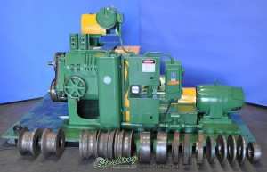 """3"""" x 3"""" x 3/8"""" Used Thomas Angle Roll, Mdl. #2 V, Power Top Roll Adjustment, Lateral Guide Arms, Tooling #9924"""