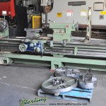 """34""""/46"""" x 120"""" Used Kingston Engine Lathe, Mdl. HR3000, 15"""" 3 Jaw Chuck, 15"""" 4 Jaw, 24"""" 4 Jaw, Faceplate, Steady Rest, Rapid Taverse, 2 Speed Tailstock (1984) #A1496"""