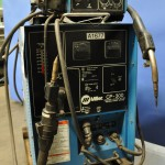300 Amp Used Miller Mig Welder, Mdl. CP-300, Miller 24V Wire Feeder, Hand Gun, Amp Meter, Spool Holder, Regulator, Cart & Casters #A1677