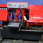 """10"""" x 11"""" Used Amada Semi- Automatic Horizontal Bandsaw, Mdl. H- 250- SA, Hydraulic Quick Acting Vise, Variable Cutting Pressure, Coolant System(1992) #9796"""