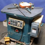 """1/8"""" x 8 5/8"""" Used Amada Combination Hydraulic Notcher- Coper, Mdl. CSW- 220, Coper Attachment Table, Twin Work Guides On Notcher & Coper, One Shot Lubrication(1981) #9788"""
