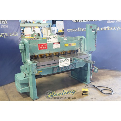 Used Wysong Power Shear With Manual Backgauge and Electric Foot Pedal 1252